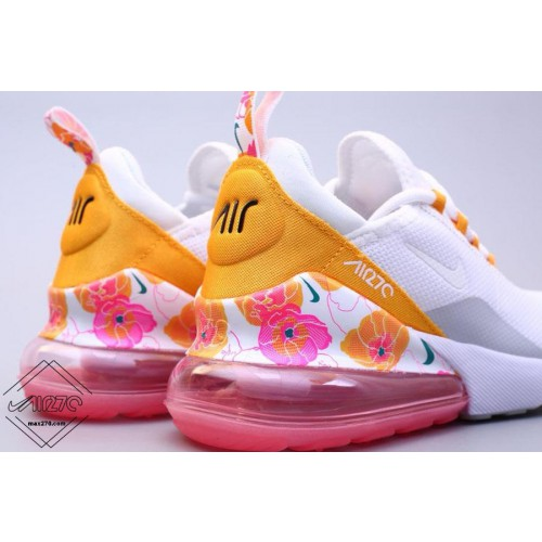 2019 nike air max 270 white/yellow with flower de sport