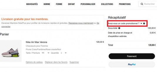code promo nike chaussure femme online